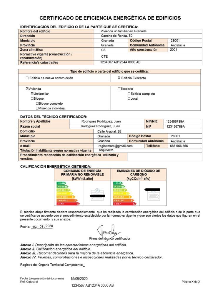 Formulario registro certificado energético