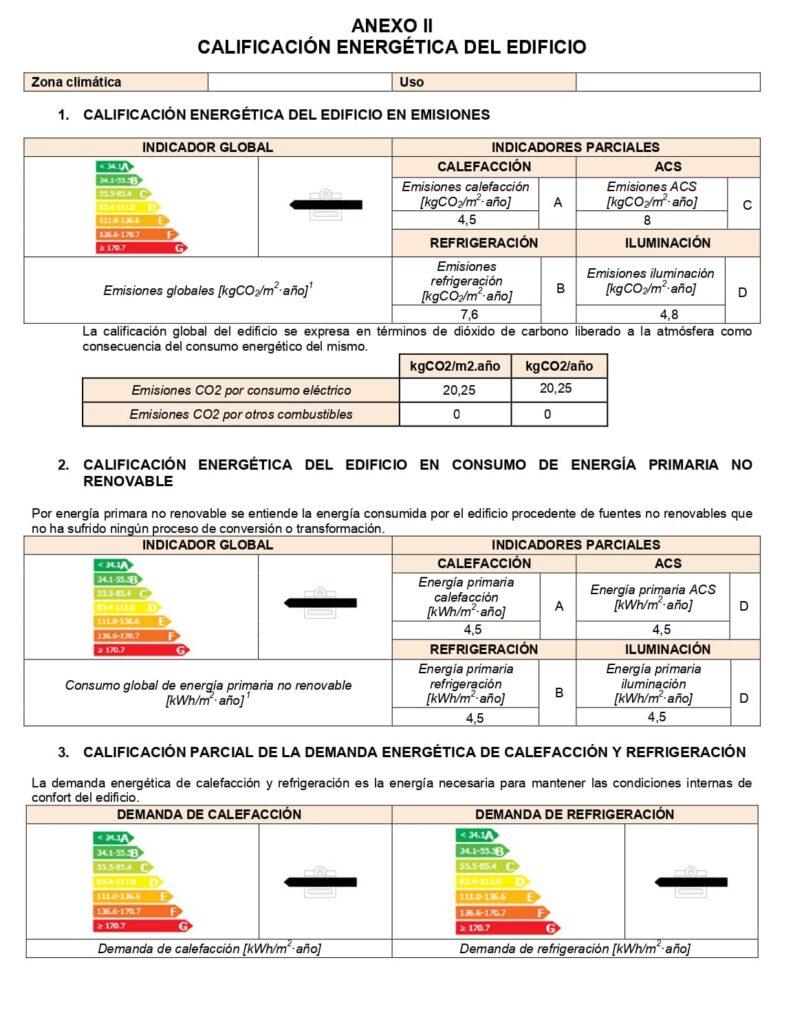 Anexo II del registro del certificado energético