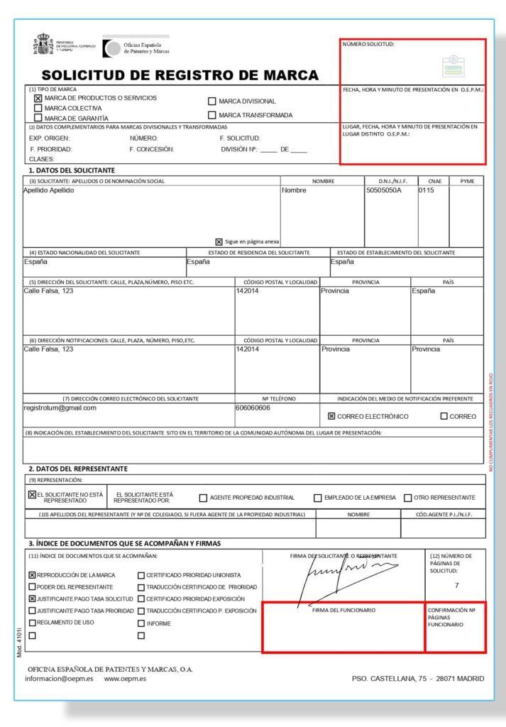 Ejemplo de cómo rellenar el formulario 4101 para registrar una marca