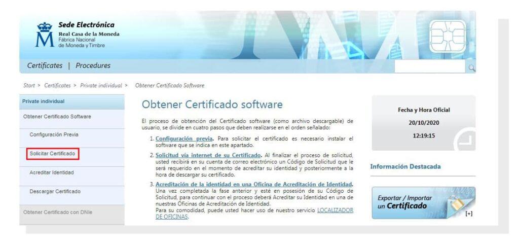 Pasos para registrar el certificado digital.