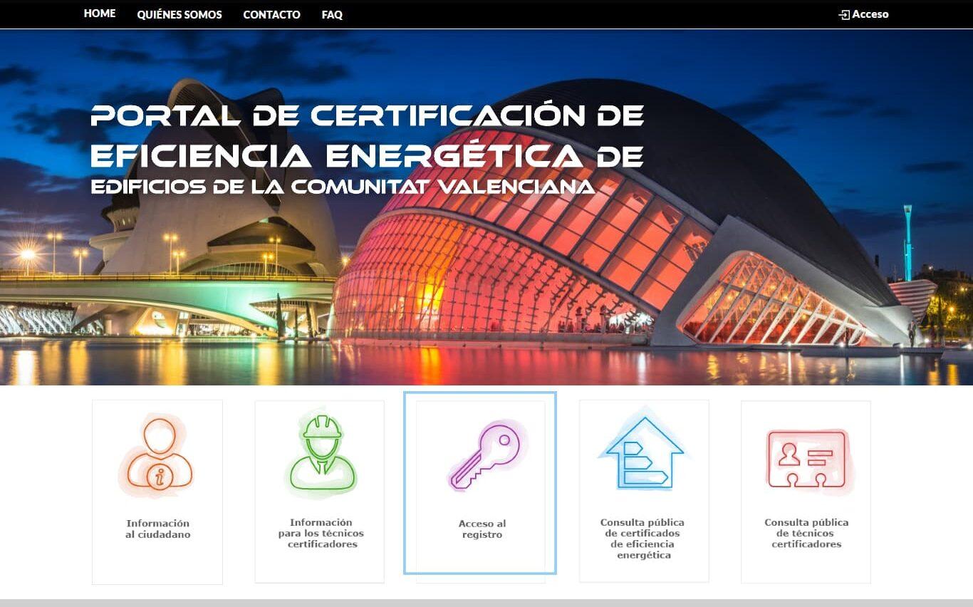 Proceso para registrar el certificado energético en la Comunidad Valenciana.
