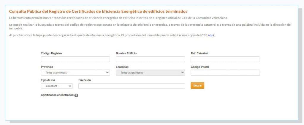 Comprobar certificado energético en la Comunidad Valenciana.