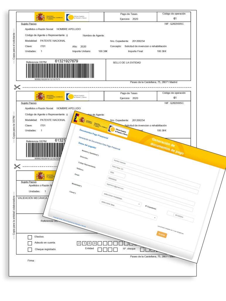 Carta de pago tasas patente