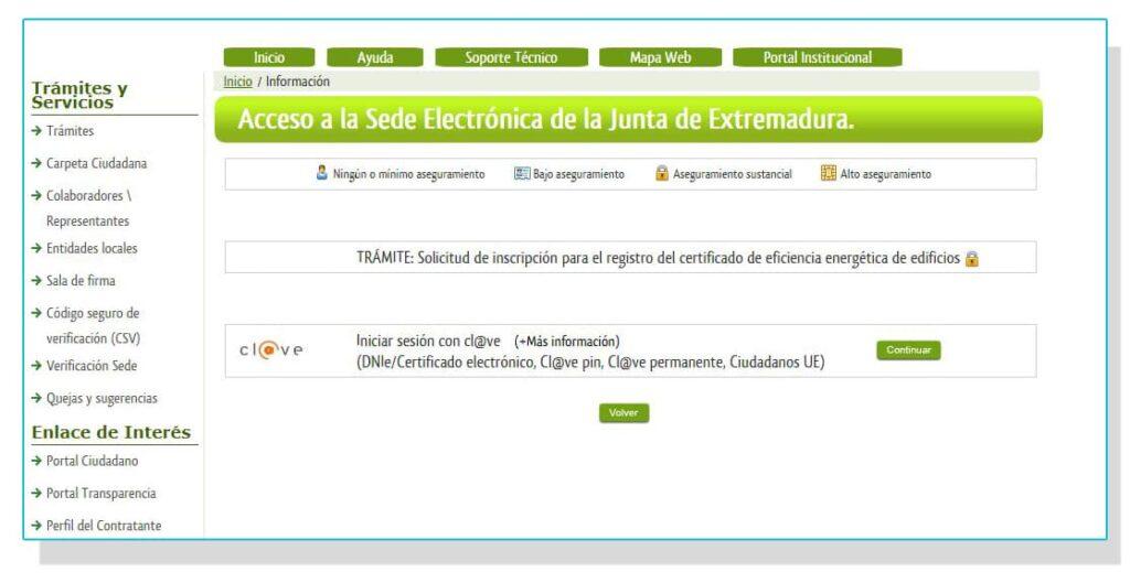 Registro online del certificado energético en Extremadura.