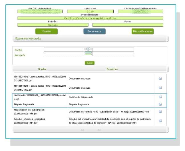 Conseguir la etiqueta registrada del certificado energético de Extremadura.