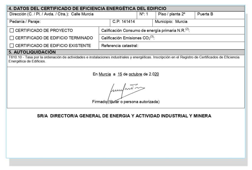 Solicitud para el certificado energético en Murcia