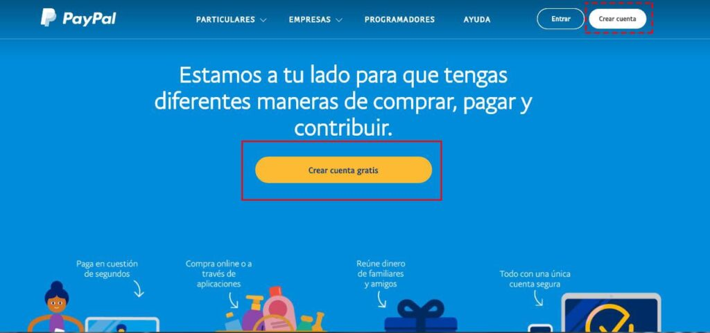 Pasos para registrarse en Paypal.