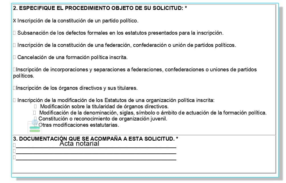 Solicitud registrar partido político